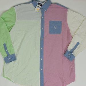 Chaps Big & Tall 3XT Multicolor   Button Down Cott